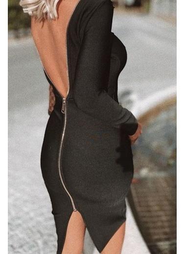 BLACK&GRACE Kadın Kırmızı Sırtı Fermuarlı Elbise Siyah